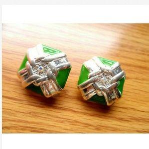 Vintage Rhinestone Earrings Silver Green Clip ons